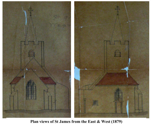 Plan views of St James from the East & West  (1879)