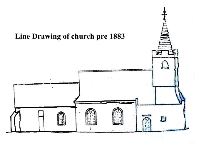 Line Draw ing of church pre 1883