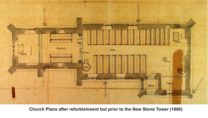 Church Plans after refurbishment but prior to the New Stone Tower (1880)