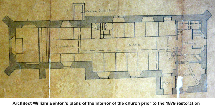 Architect William Benton's plans of the interior of the church prior to the 1879 restoration